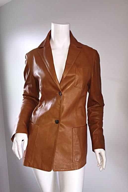 Jil Sander Perfect Vintage 1990s Tan Saddle Leather Jacket Blazer Minimalist  5