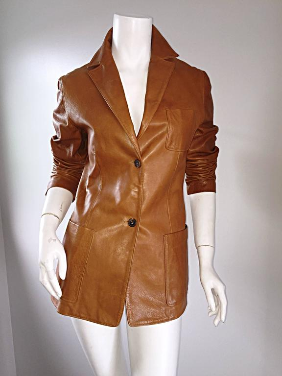 Jil Sander Perfect Vintage 1990s Tan Saddle Leather Jacket Blazer Minimalist  6