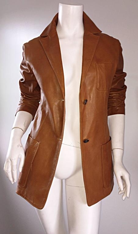 Jil Sander Perfect Vintage 1990s Tan Saddle Leather Jacket Blazer Minimalist  4