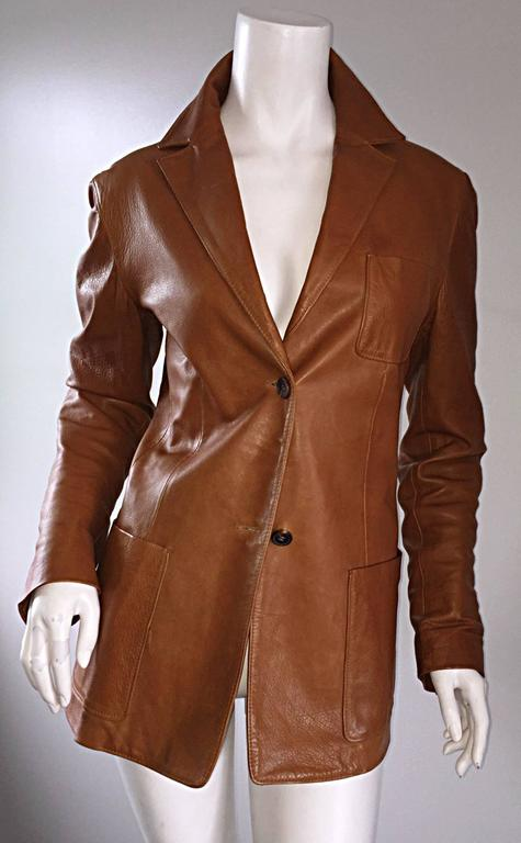 Jil Sander Perfect Vintage 1990s Tan Saddle Leather Jacket Blazer Minimalist  8