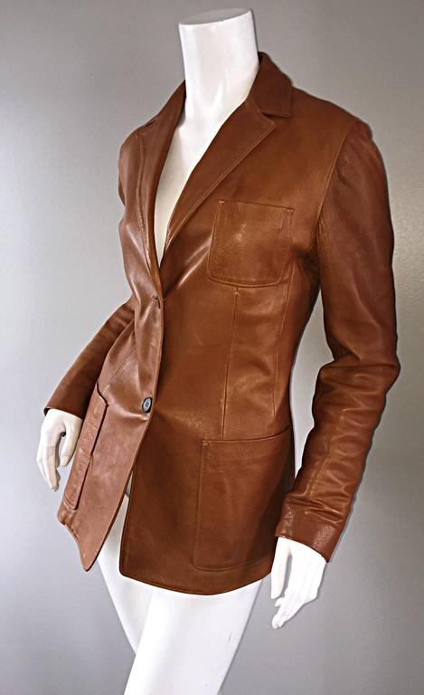 Jil Sander Perfect Vintage 1990s Tan Saddle Leather Jacket Blazer Minimalist  9