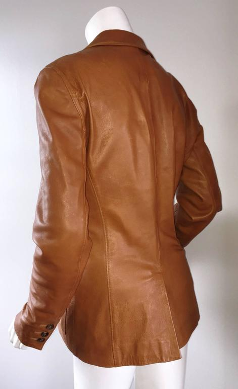 Jil Sander Perfect Vintage 1990s Tan Saddle Leather Jacket Blazer Minimalist  2