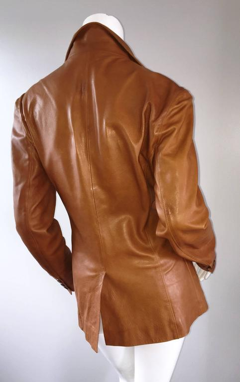Jil Sander Perfect Vintage 1990s Tan Saddle Leather Jacket Blazer Minimalist  3