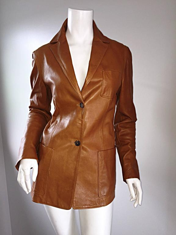 Jil Sander Perfect Vintage 1990s Tan Saddle Leather Jacket Blazer Minimalist  7