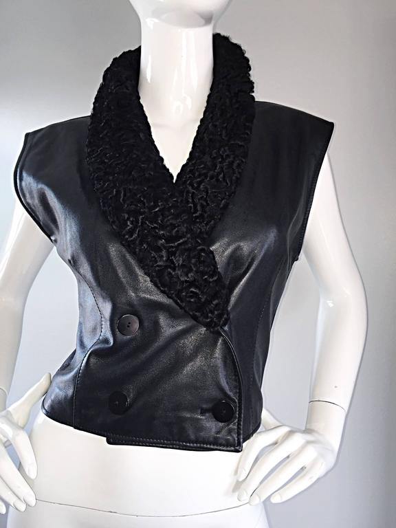 Vintage Valentino Black Leather Double Breasted Vest w/ Persian Lamb Collar 7