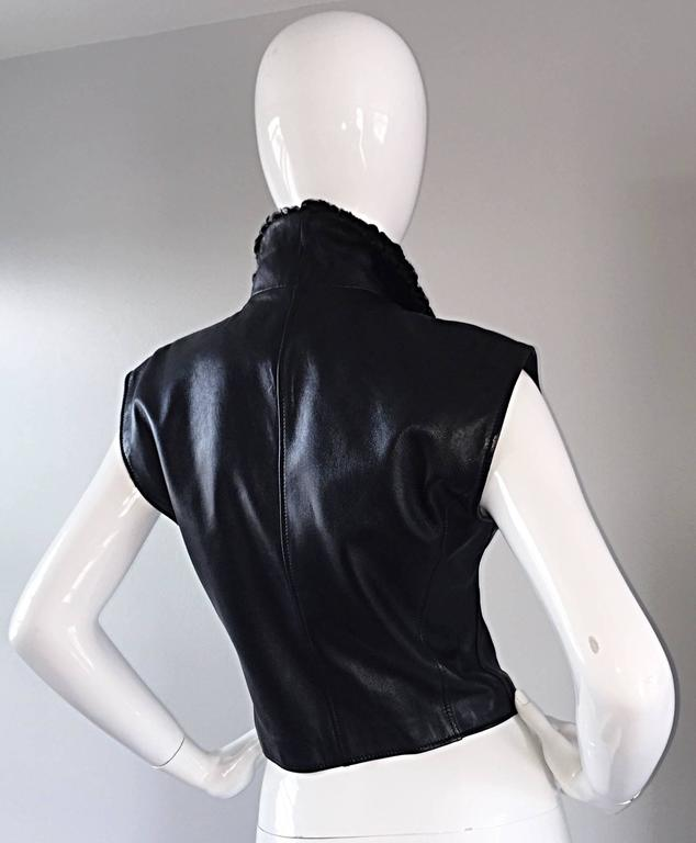 Vintage Valentino Black Leather Double Breasted Vest w/ Persian Lamb Collar 3