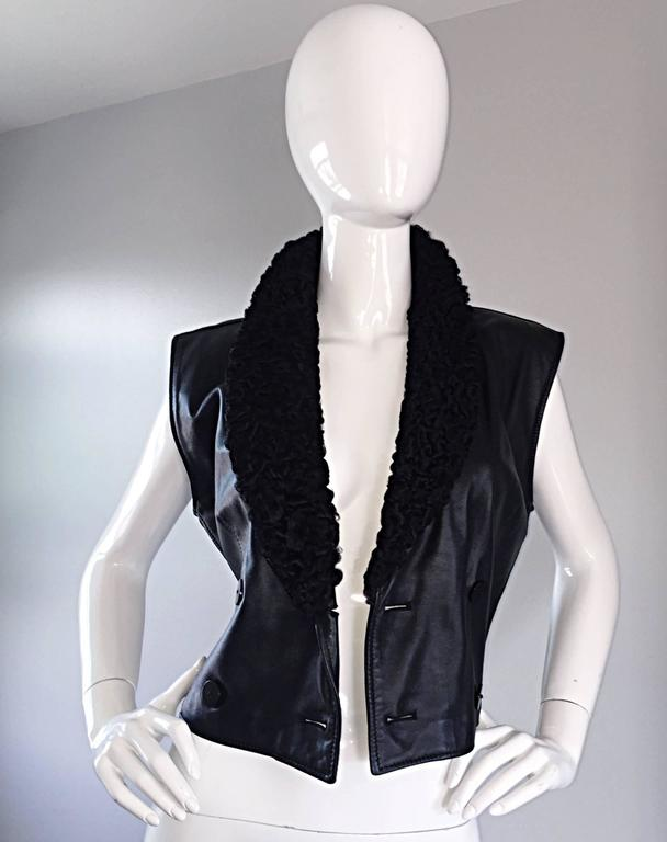 Vintage Valentino Black Leather Double Breasted Vest w/ Persian Lamb Collar 5