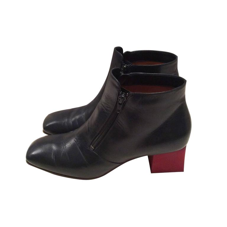 Celine Boots - Short Navy Leather with Red Heel - Size 37.5