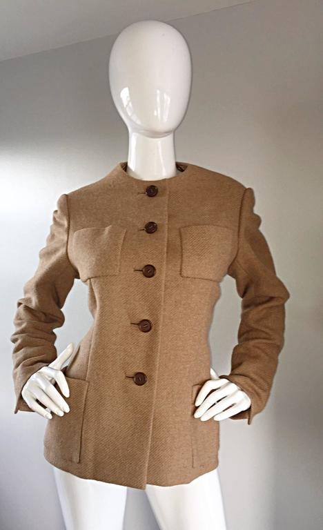 Women's  Norman Norell 1960s Size 12 Tan / Camel 60s Vintage Blazer Jacket + Skirt Suit For Sale