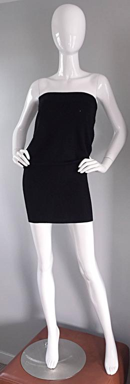 Sexy Vintage Patrick Kelly 1980s 80s Black Wool Strapless Dress, Top, or Skirt 2