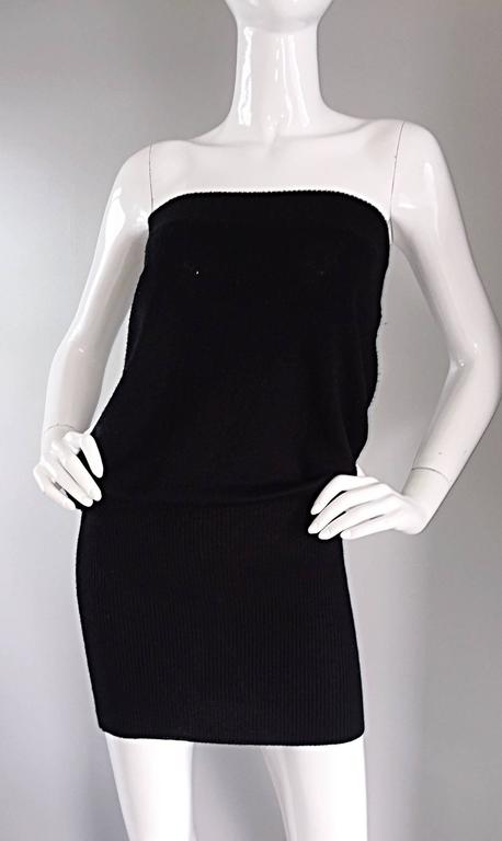 Sexy Vintage Patrick Kelly 1980s 80s Black Wool Strapless Dress, Top, or Skirt 3