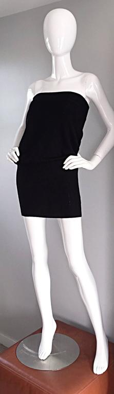 Sexy Vintage Patrick Kelly 1980s 80s Black Wool Strapless Dress, Top, or Skirt 9
