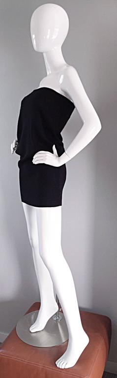 Sexy Vintage Patrick Kelly 1980s 80s Black Wool Strapless Dress, Top, or Skirt 5