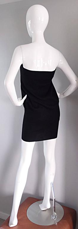 Sexy Vintage Patrick Kelly 1980s 80s Black Wool Strapless Dress, Top, or Skirt 6