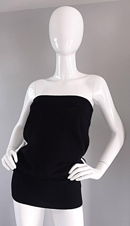 Sexy Vintage Patrick Kelly 1980s 80s Black Wool Strapless Dress, Top, or Skirt 4
