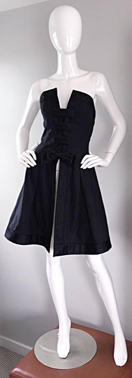 Vintage Rena Lange Black Silk Avant Garde Strapless Overdress Cut Out Bow Dress For Sale 2