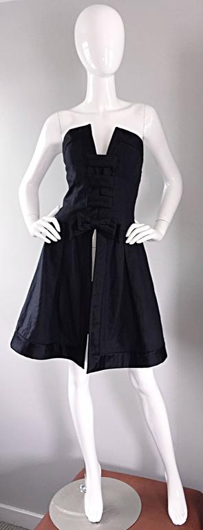 Vintage Rena Lange Black Silk Avant Garde Strapless Overdress Cut Out Bow Dress In Excellent Condition For Sale In Chicago, IL