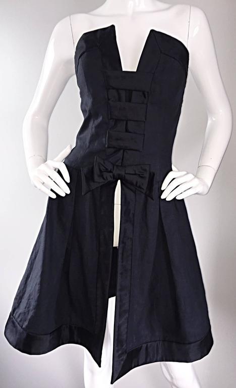 Vintage Rena Lange Black Silk Avant Garde Strapless Overdress Cut Out Bow Dress For Sale 3