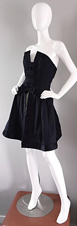 Vintage Rena Lange Black Silk Avant Garde Strapless Overdress Cut Out Bow Dress For Sale 4