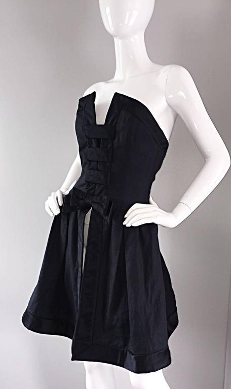 Vintage Rena Lange Black Silk Avant Garde Strapless Overdress Cut Out Bow Dress For Sale 5