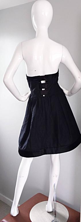 Vintage Rena Lange Black Silk Avant Garde Strapless Overdress Cut Out Bow Dress For Sale 1