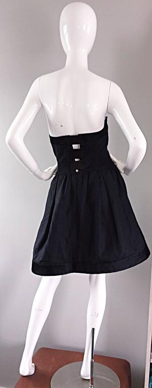 Women's Vintage Rena Lange Black Silk Avant Garde Strapless Overdress Cut Out Bow Dress For Sale