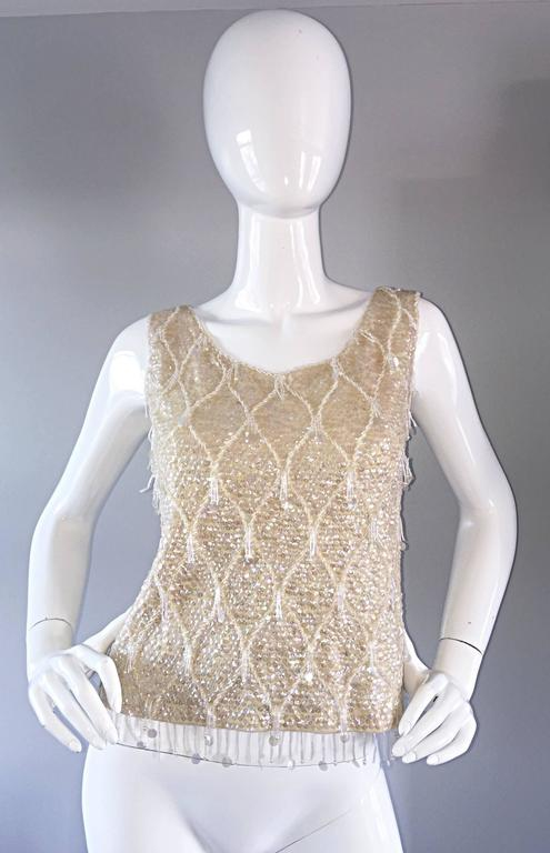 Beautiful 1950s / 1960s Ivory Wool Beaded + Sequins Off - White Sleeveless Top 4