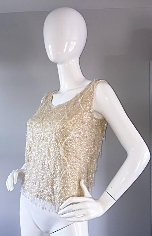 Beautiful 1950s / 1960s Ivory Wool Beaded + Sequins Off - White Sleeveless Top 3