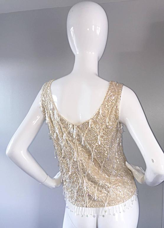 Beautiful 1950s / 1960s Ivory Wool Beaded + Sequins Off - White Sleeveless Top 8