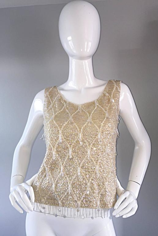 Beautiful 1950s / 1960s Ivory Wool Beaded + Sequins Off - White Sleeveless Top 2