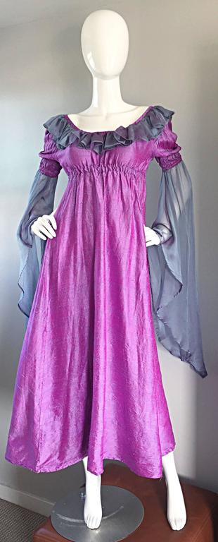 Pretty Vintage Fuchsia + Pink Purple 1970s 70s Raw Silk Dress w/ Angel Sleeves In Excellent Condition For Sale In Chicago, IL