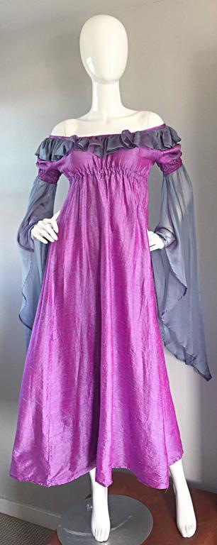Pretty Vintage Fuchsia + Pink Purple 1970s 70s Raw Silk Dress w/ Angel Sleeves For Sale 3