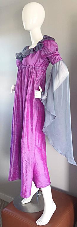 Pretty Vintage Fuchsia + Pink Purple 1970s 70s Raw Silk Dress w/ Angel Sleeves For Sale 2