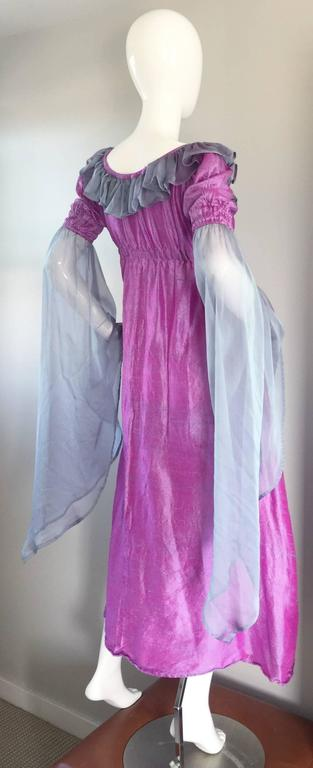 Beautiful 1970s raw silk + chiffon dress! Vibrant fuchsia color, with purple gray chiffon angel sleeves. Flattering empire waist on this maxi dress. Elastic at waist, and at sleeve cuffs (can also be worn off the shoulder). Perfect from day to
