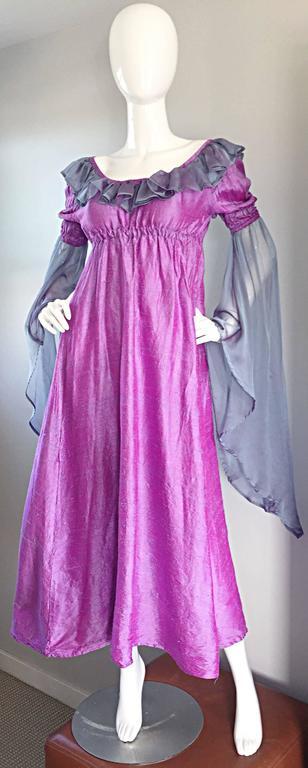 Women's Pretty Vintage Fuchsia + Pink Purple 1970s 70s Raw Silk Dress w/ Angel Sleeves For Sale