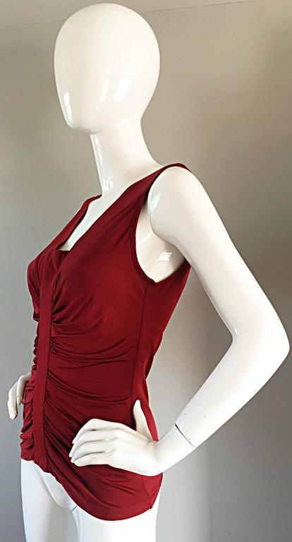 Beautiful John Galliano Crimson Red Silk Jersey Ruched Grecian Blouse / Top For Sale 1