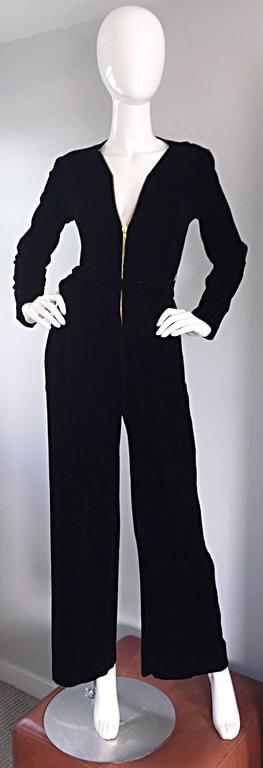 Amazing 1970s Mary Quant Black Velvet ' Zipper ' Bellbottom 70s Jumpsuit Onesie 3