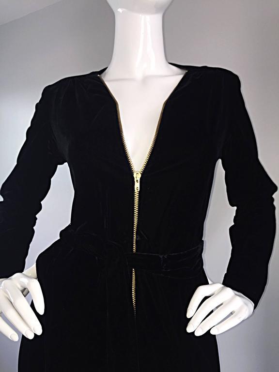 Amazing 1970s Mary Quant Black Velvet ' Zipper ' Bellbottom 70s Jumpsuit Onesie 8