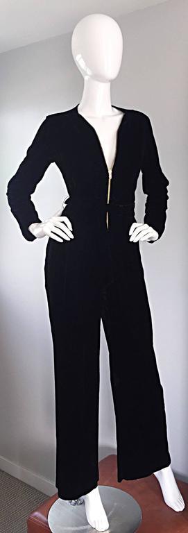 Amazing 1970s Mary Quant Black Velvet ' Zipper ' Bellbottom 70s Jumpsuit Onesie 5