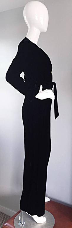 Amazing 1970s Mary Quant Black Velvet ' Zipper ' Bellbottom 70s Jumpsuit Onesie 4
