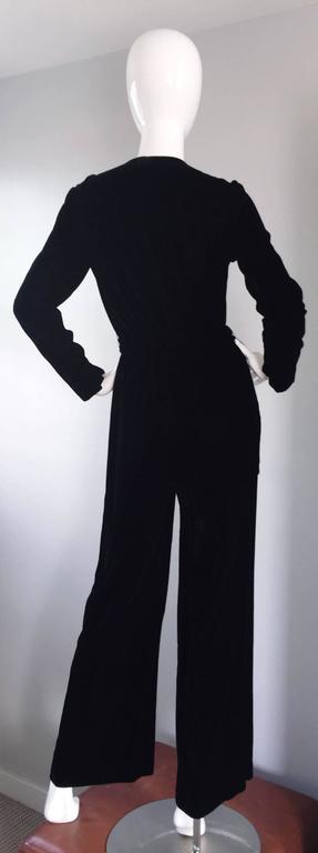 Amazing 1970s Mary Quant Black Velvet ' Zipper ' Bellbottom 70s Jumpsuit Onesie 2