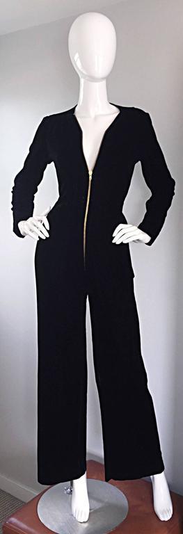 Amazing 1970s Mary Quant Black Velvet ' Zipper ' Bellbottom 70s Jumpsuit Onesie 7