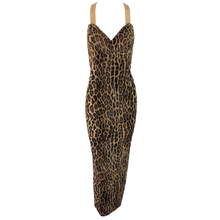 F/W 1994 Gianni Versace Faux Fur Leopard Gown Dress Seen On Fran Drescher 38