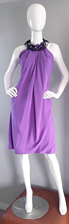 Chic Pamella Roland Light Purple Lilac Beaded Bib Collar Bubble Grecian Dress 8