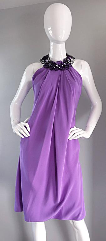 Chic Pamella Roland Light Purple Lilac Beaded Bib Collar Bubble Grecian Dress 4
