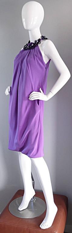 Chic Pamella Roland Light Purple Lilac Beaded Bib Collar Bubble Grecian Dress 7