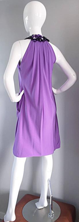 Chic Pamella Roland Light Purple Lilac Beaded Bib Collar Bubble Grecian Dress 3