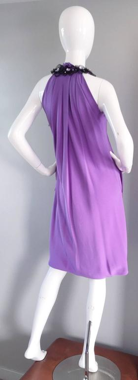 Chic Pamella Roland Light Purple Lilac Beaded Bib Collar Bubble Grecian Dress 2