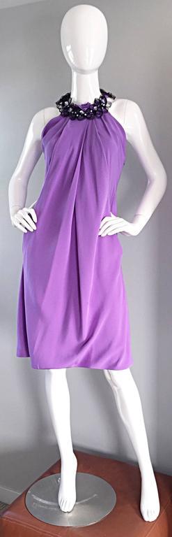 Chic Pamella Roland Light Purple Lilac Beaded Bib Collar Bubble Grecian Dress 6