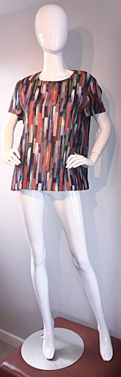Gerard Darel Multi Color Abstract Silk Trapeze Swing Top / Blouse Made in France 2